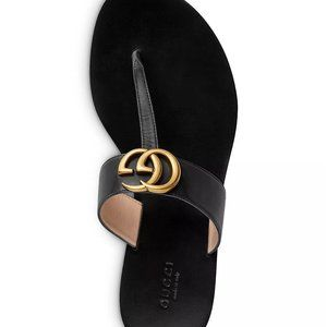 GUCCI Marmont Leather Thong Flat Shoe